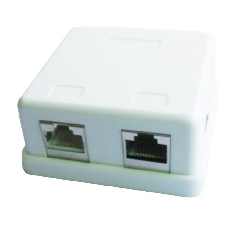 Two jack surface mount box with 2 CAT5e half-shielded
